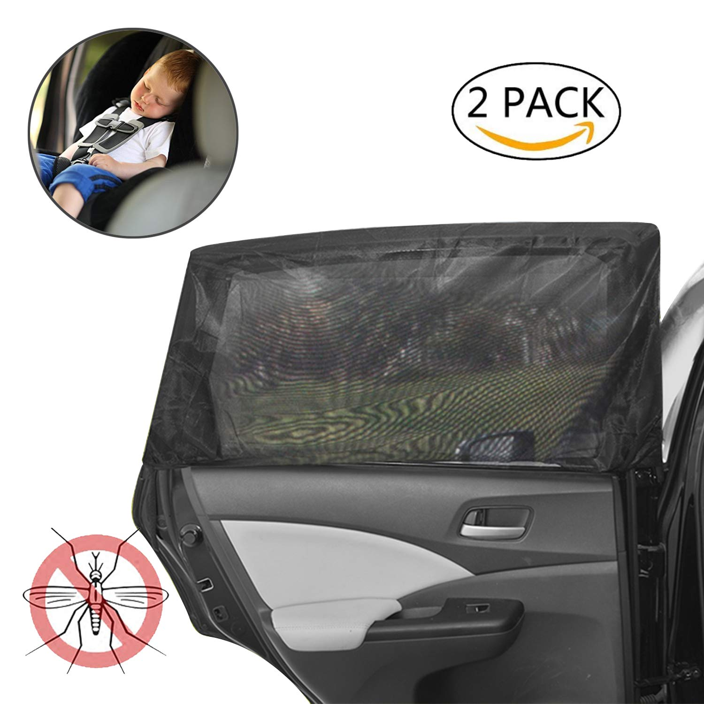 Car Window Shade,Haimist Universal Car Side Window Baby Kid Pet Breathable Sun Shade Mesh Backseat (2 Pcs) Fits Most Small and Medium Cars