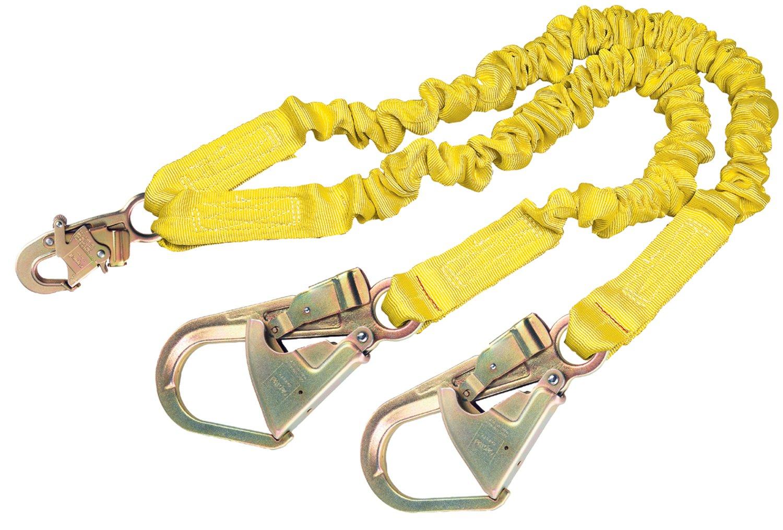 3M DBI-SALA Shockwave 2, 1244412 6' Shock Absorbing Lanyard, Tubular Web, 100% Tie Off w/ Steel Rebar Hooks On Leg Ends, Snap Hook On Other, Yellow