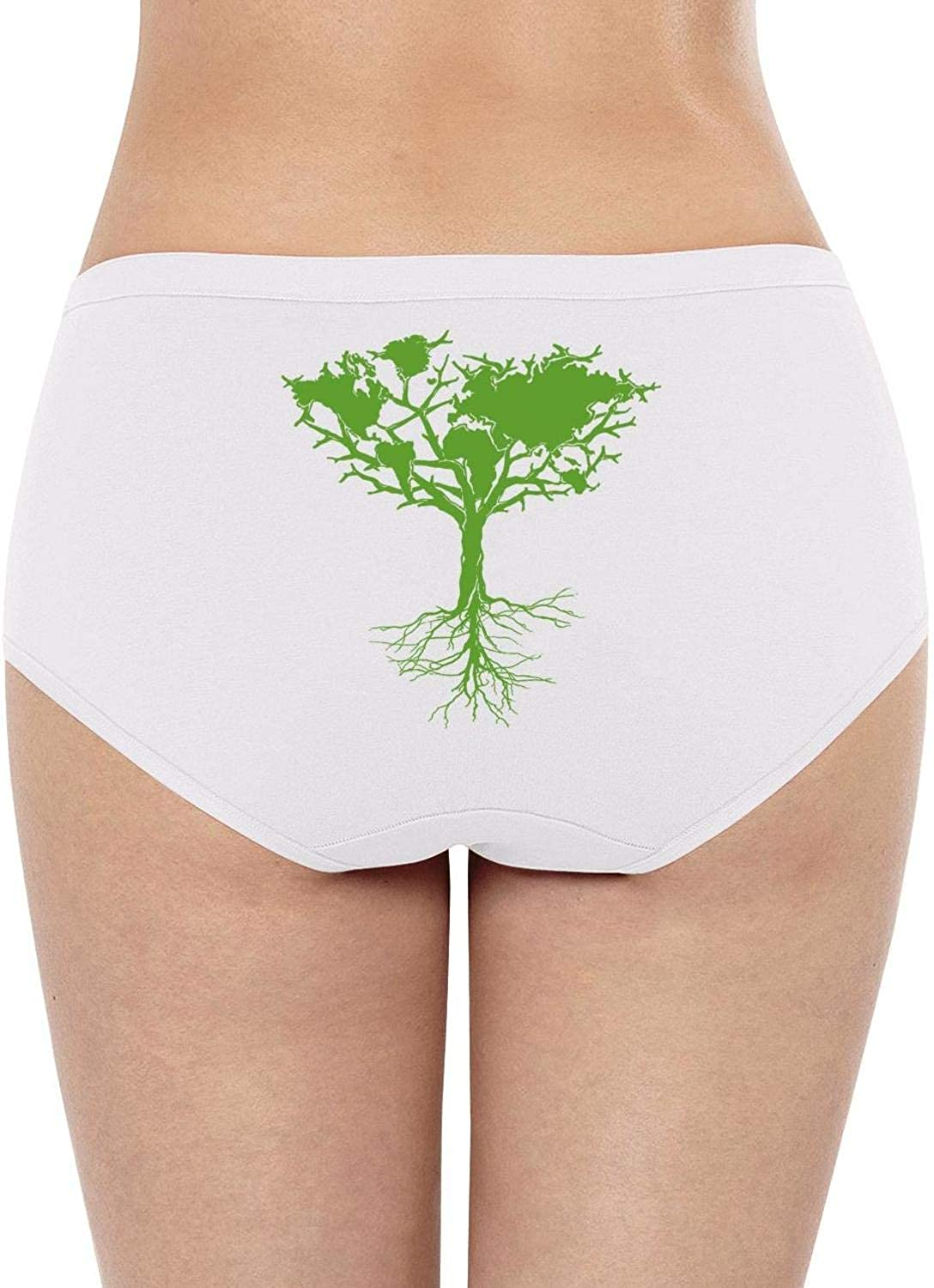 Hand Drawn Earth Day conceptWomensBikini PantySuper Soft Cotton Stretch Quick DryLow WaistBrief Panties