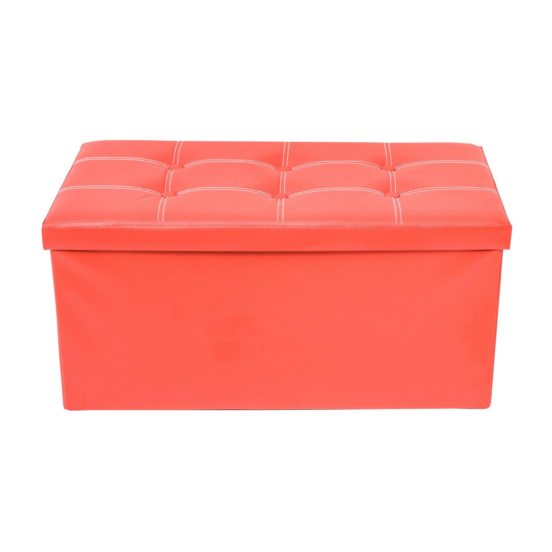 Rebecca Mobili Puff Asiento Baúl Polipiel Taburete Rojo almacenaje Asiento Moderno Organizador casa- 38 x