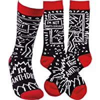 Novelty Funky Womens Crew Socks Primitives by Kathy - I'm Not Anti-Social