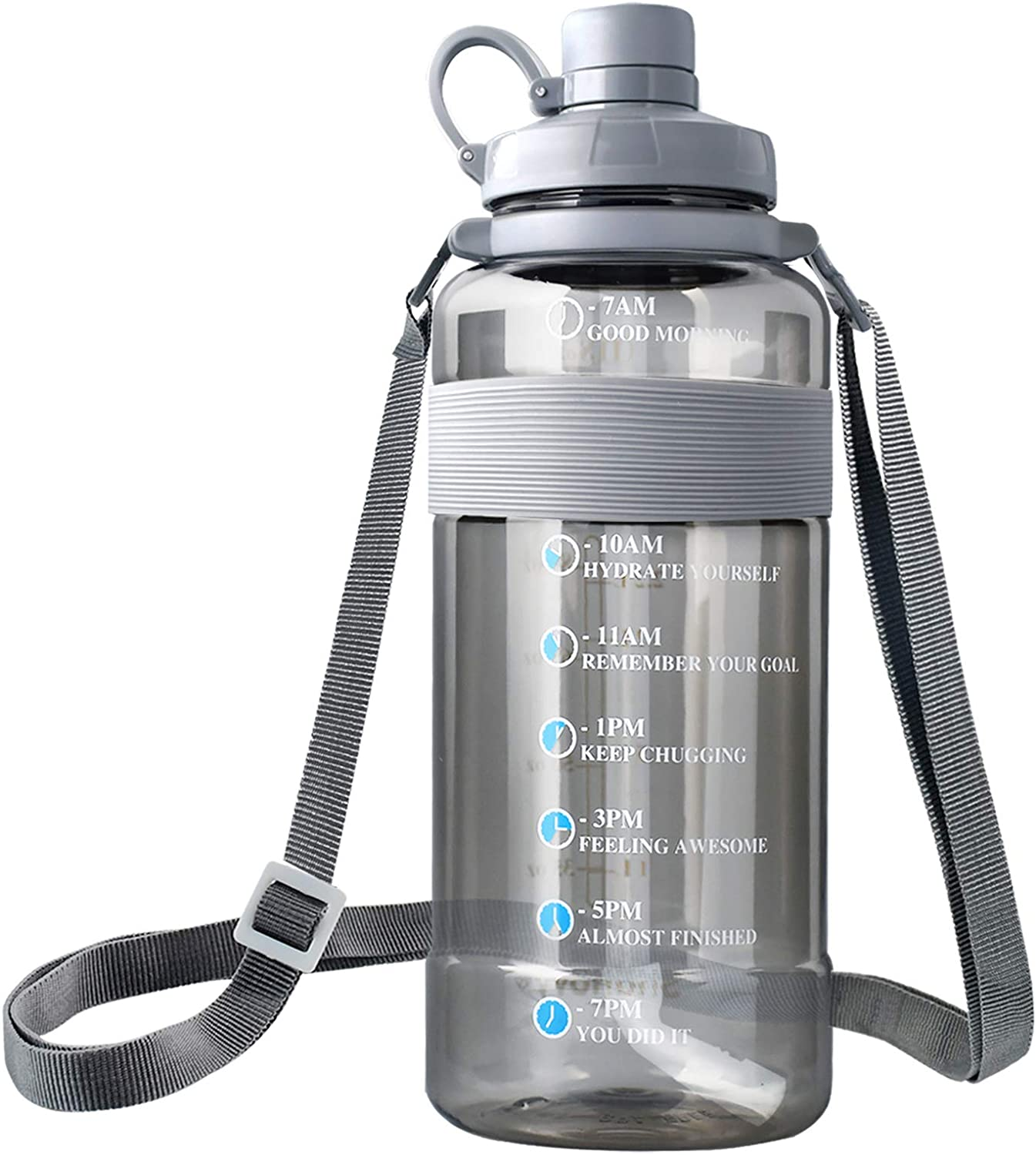 2.3L/ 75 oz Water Bottle with Handle Silicone, Lightweight Portable Water Bottle with Strap Inspirational Measured Water Bottle with Times Big Water Jug with Straw Drink Water Reminder Bottle