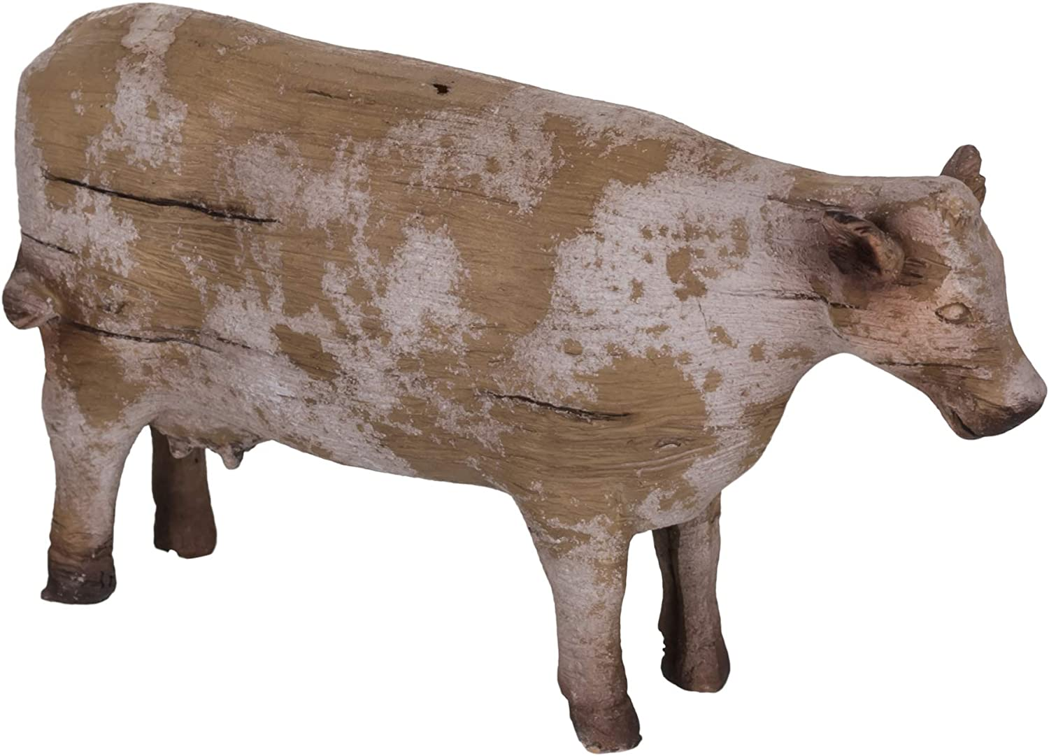 The Country House Rustic Cow Aged Cream 7 x 4 Carved Look Resin Stone Collectible Figurine