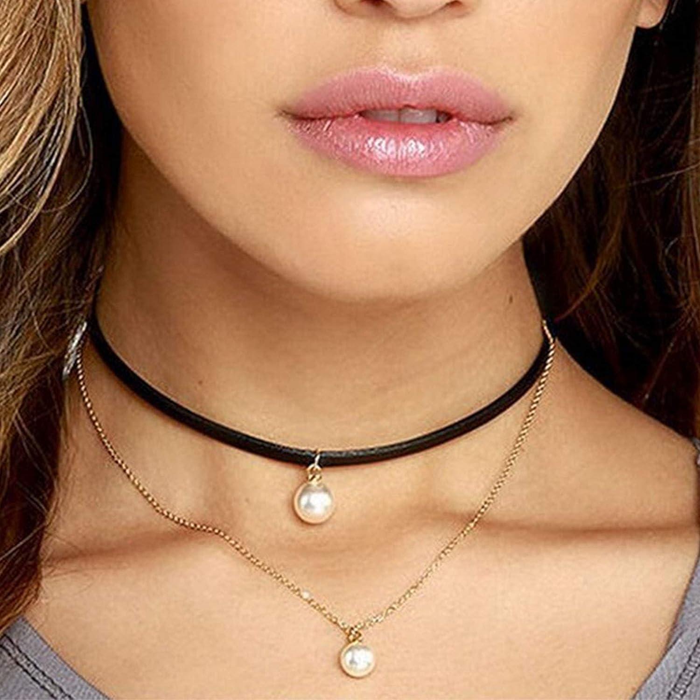 Yienate Collar de perlas con colgante de perlas de terciopelo negro, gargantilla de cadena de oro, accesorios de joyería para mujeres y niñas