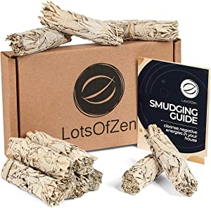 LotsOfZen 4 Inch Premium California White Sage Bundle (10 Pack) — Sage Smudge Sticks for Home Cleansing, Meditation, Yoga, Energy Healing — Grown and Packaged in The USA