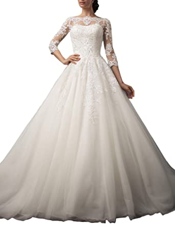 Gotidy Bateau Neck Illusion Neck Sheer Lace Vestido De Novia Vintage Bridal Gowns Half Sleeves G20 at Amazon Womens Clothing store: