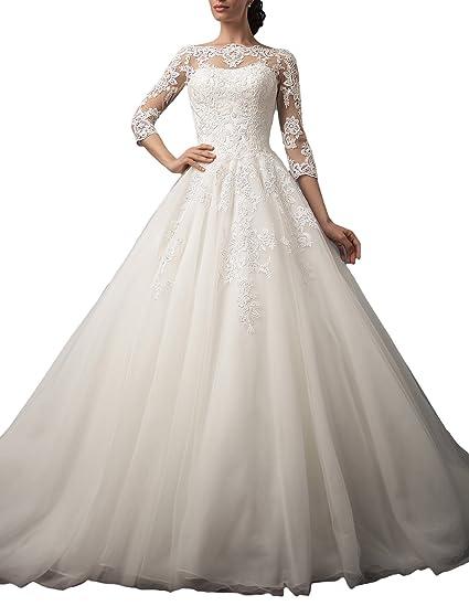 Gotidy Bateau Neck Illusion Neck Sheer Lace Vestido De Novia Vintage Bridal Gowns Half Sleeves G20