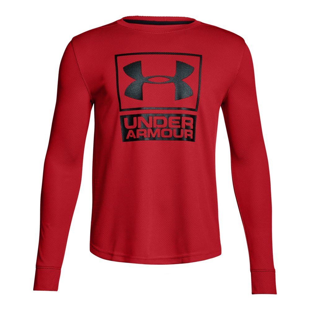 Under Armour Boys' Tech Textured Crew,Red /Black, Youth Large by Under Armour