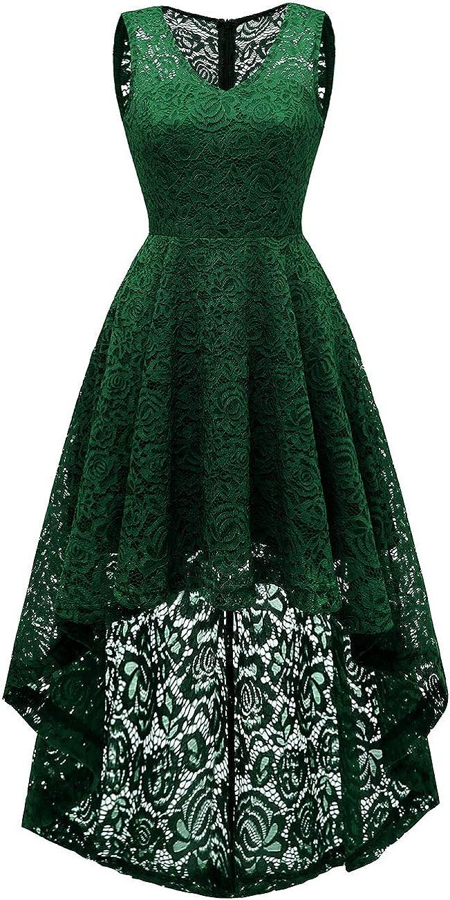 MUADRESS Womens Vintage Cocktail Dress Floral Lace V Neck Hi-Lo Party Dress