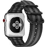For Apple Watch バンド, Fintie 編みナイロン 時計バンド 交換ベルト アップルウォッチ交換ストラップ iWatch Apple Watch Series 44mm, Series 3 / Series 2 / Series 1 42mm 対応 (ブラック/グレー)