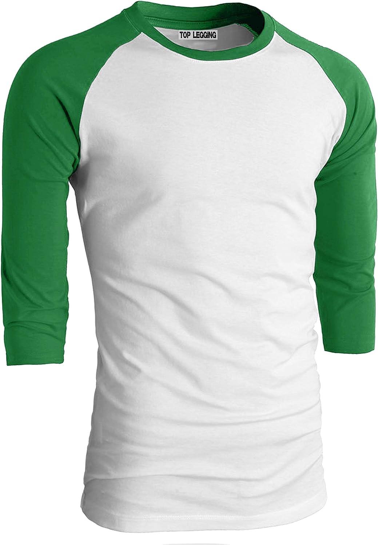 TOP LEGGING TL Mens Baseball Crew Neck Cotton Long or 3//4 Sleeve Essentail Raglan Tee Shirts