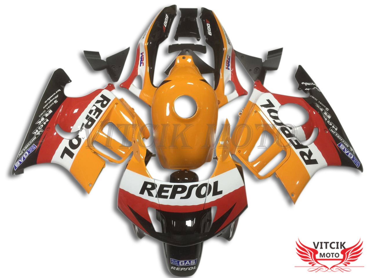VITCIK (フェアリングキット 対応車種 ホンダ Honda CBR600F3 CBR600F 1997 1998 CBR 600 F3 97 98) プラスチックABS射出成型 完全なオートバイ車体 アフターマーケット車体フレーム 外装パーツセット(オレンジ色 & ブラック) A024   B074W8K6BC