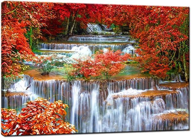 Autumn Wall Art Fall Wall Art Trees Wall Art Autumn Canvas Print Flower Wall Art Autumn Decor Red Flower Print Nature Wall Art