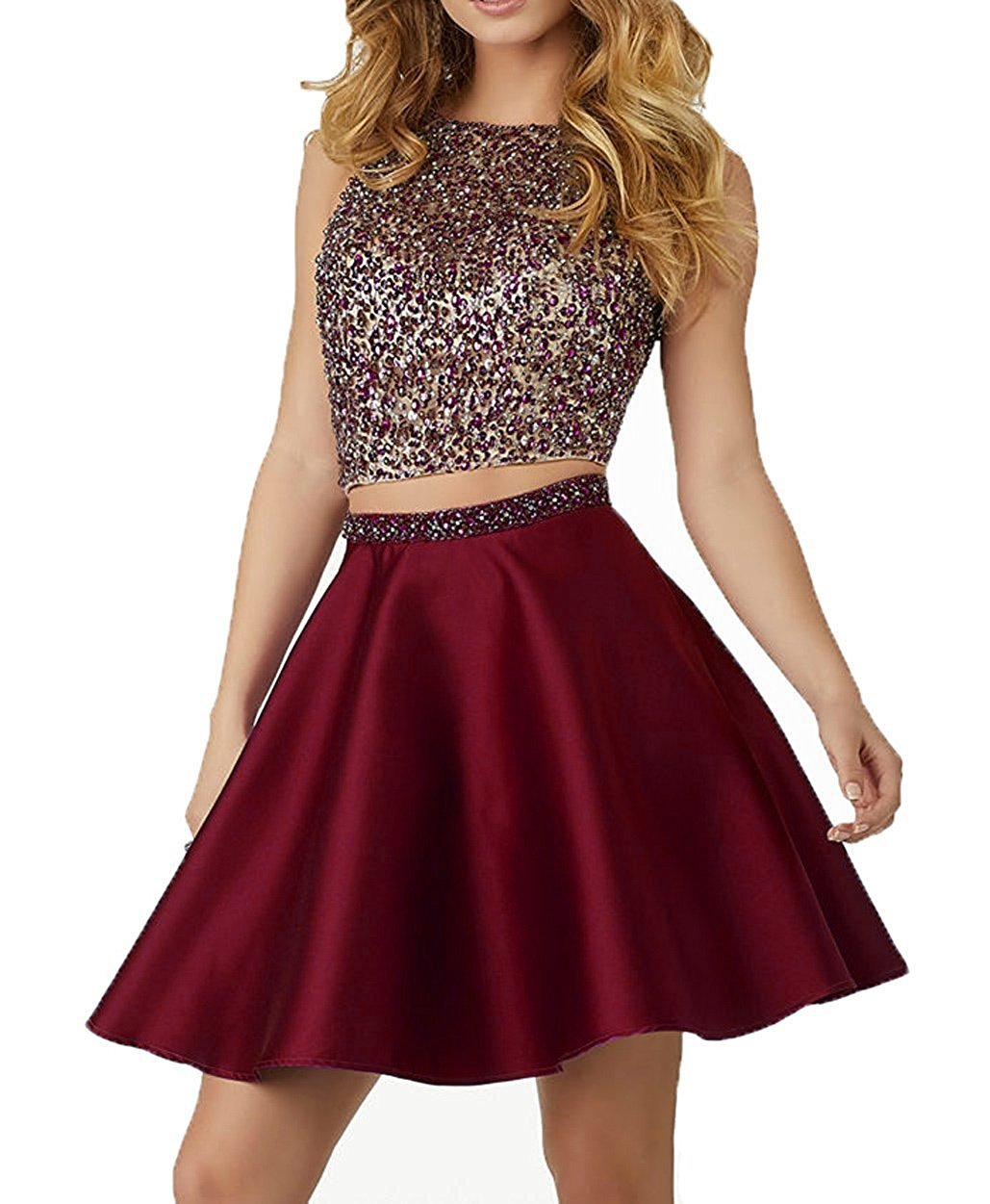 532cdf1dfc7 LOVING HOUSE Sparkly Crstals 2 Piece Satin Prom Dresses Short Open Back Homecoming  Cocktail Dresses P012 Burgundy 10