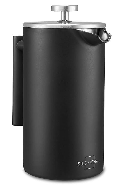 SILBERTHAL Cafetera émbolo individual acero inoxidable | French press 1 litro Cafetera francesa | Cafetera de piston | Cafetera infusión con filtro ...