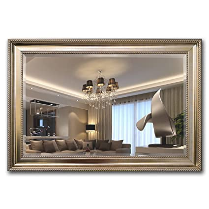 living room wall mirrors Amazon.com: MIRROR TREND Champagne Silver Framed Mirror | Large  living room wall mirrors