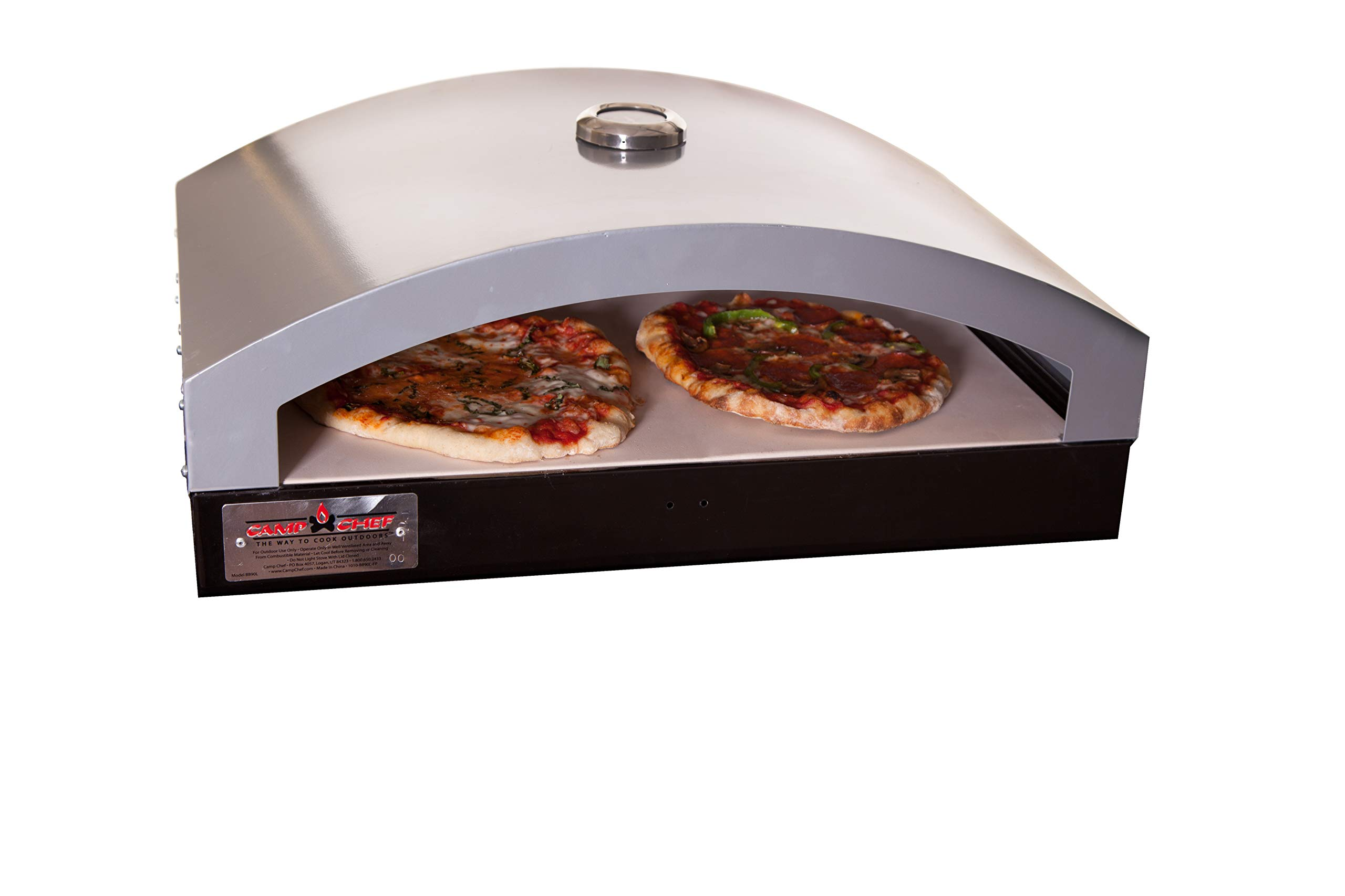 """Camp Chef Artisan Outdoor Pizza Oven, 16"""" Two Burner Accessory, Ceramic Pizza Stone, 16 in. x 24 in. x 9 in"""