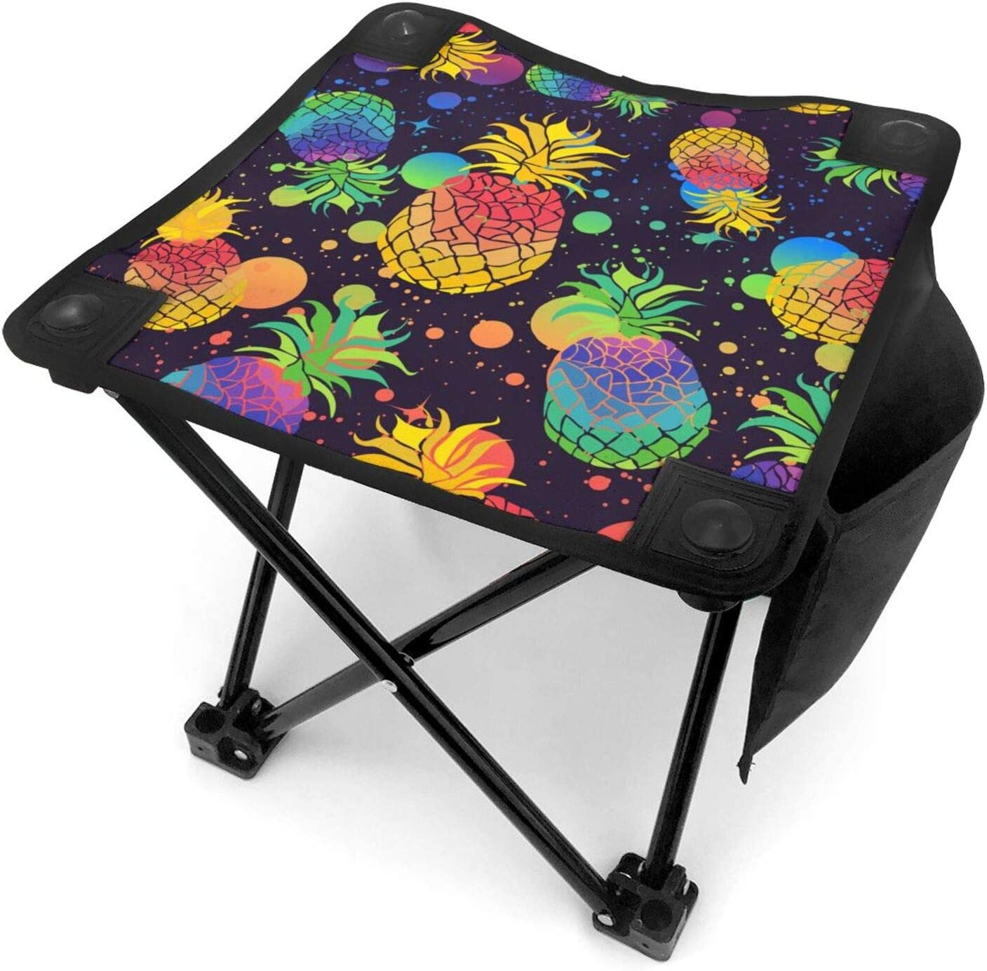 Folding Portable Camping Stool Pineapples With Pride Flag Rainbow Fruits Splashes Mini Lightweight Sturdy Collapsible Chair For Camping, Fishing, Hiking, Fishing, Travel, Beach, Picnic With Portable B