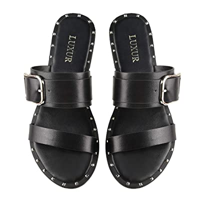 LUXUR Women's Cut Out Flat Sandals Casual Wear Slip on Slide Sandals | Slides