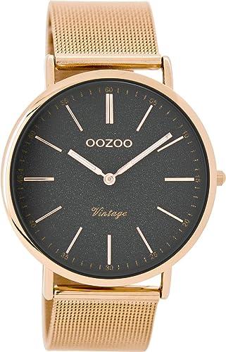 Oozoo Vintage Damenuhr Flach Metallband 40 MM Rose/Glitzer C8803