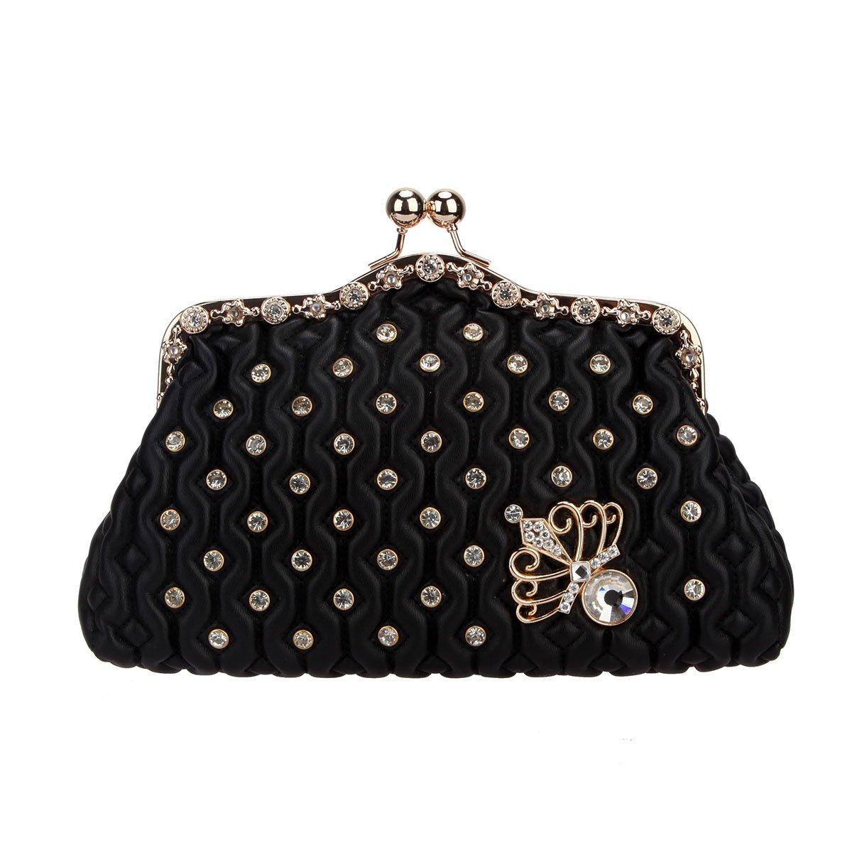 Fawziya Kiss Lock Crystal Butterfly Purses And Handbags For Women Mini Bag-Black