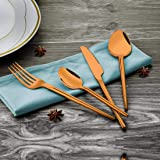 Shri & Sam High Grade Stainless Steel Maccy Copper Cutlery Set with Pvd Coating, Rose Gold, Pack of 24