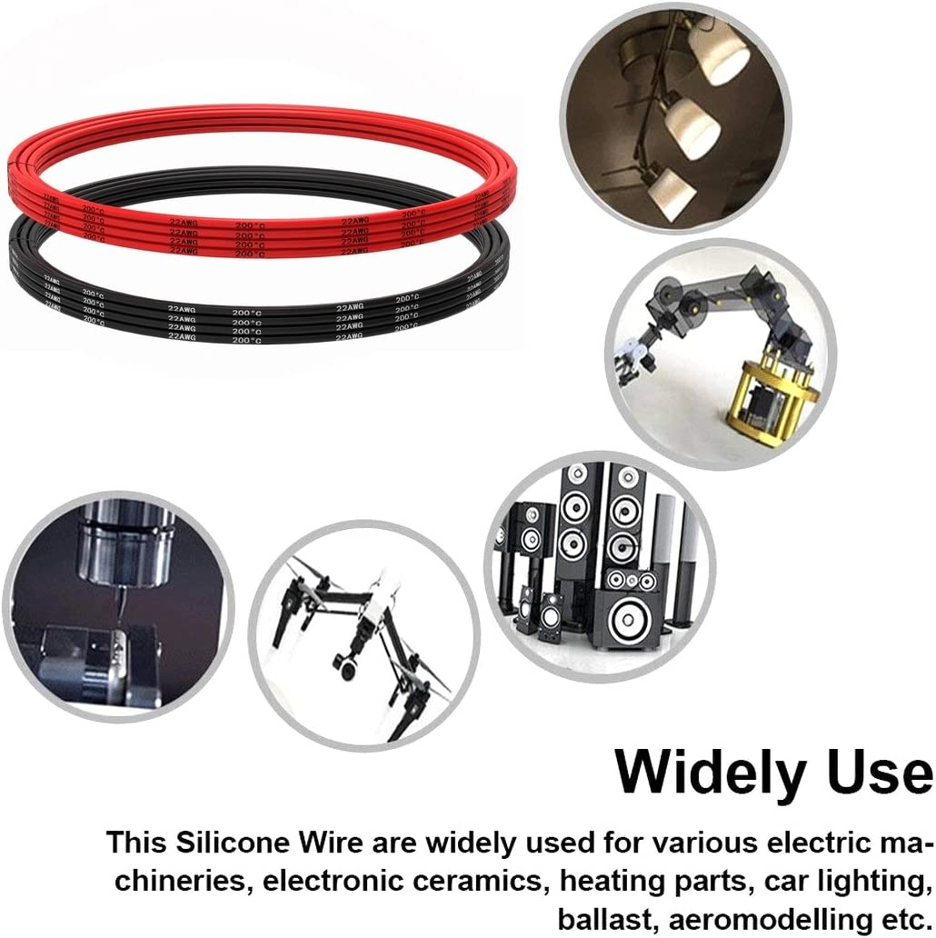 Fil de silicone flexible de fil de cuivre /étam/é 3 m de noir et 3 m de rouge fil 22 AWG Silicone Wire Fil de silicone de calibre 22 6 m brasez rapidement