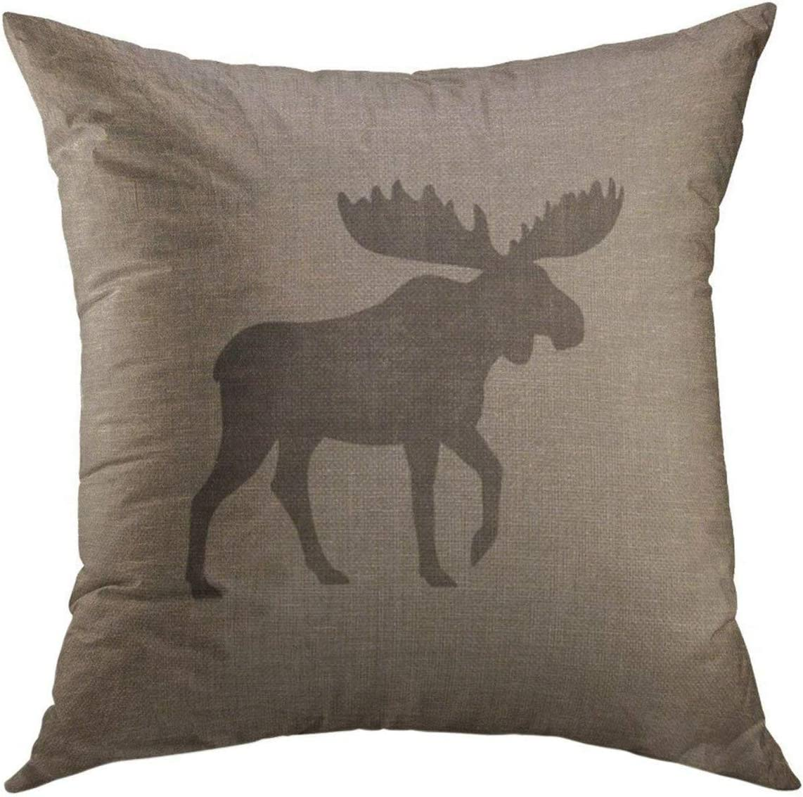 Mugod Decorative Throw Pillow Cover for Couch Sofa,Rustic Moose Silhouette Burlap Cabin Home Decor Pillow Case 18x18 Inch