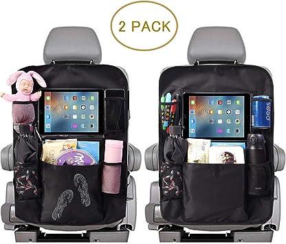 Durable car backseat organizer for kids with animal prints Pink