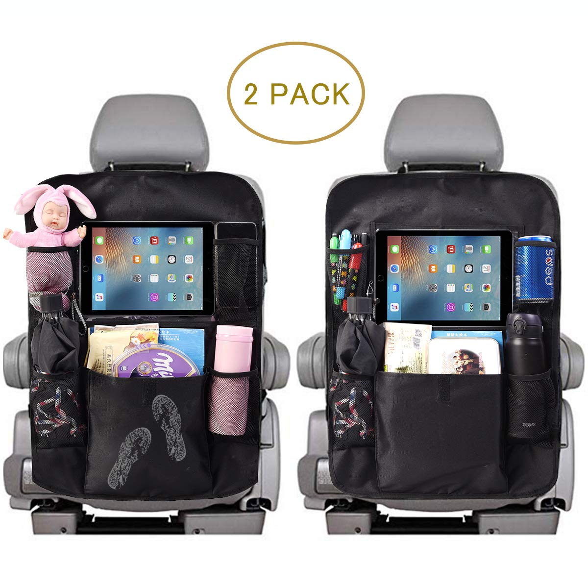 ComboCube Car Backseat Organizer For Kids Kick Mats 2 Pack,Car Seat Back Protectors with Touch-Screen Clear 10'' Tablet Holder + 5 Storage Pockets Back seat Organizer for Kids and Toddlers Toy,Bottle D by ComboCube