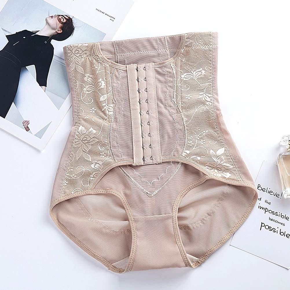 HEALLILY Women High Waist Body Shaper Postpartum Abdomen Panties Tummy Control Shapewear Size XL Skin Color