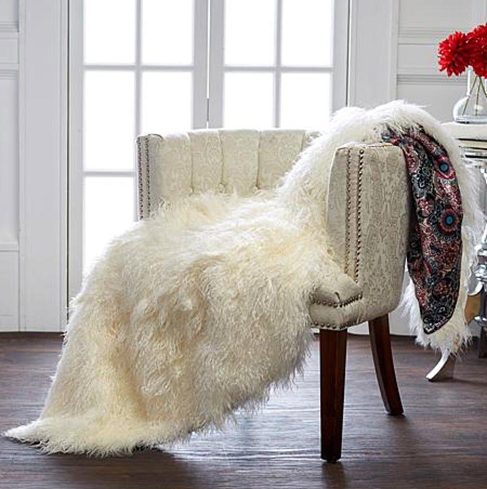 Rara Avis by Iris Apfel Mongolian Fur Throw Blanket 50''W x 60''L REAL Lamb Fur Ivory