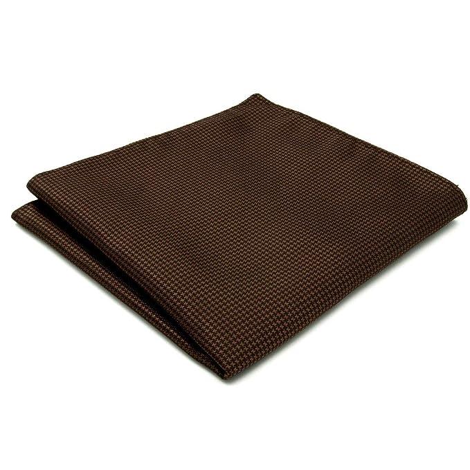 Shlax&Wing Hombre Seda Pañuelo De Bolsillo Para Traje De Negocios Marrón Color Sólido 32cm