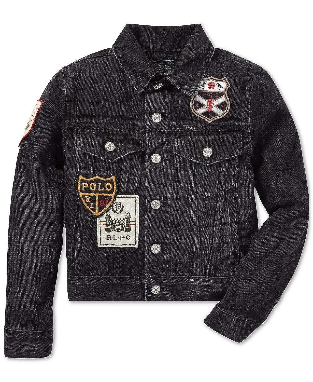 18e25e7cc98 Amazon.com: Ralph Lauren Polo Boys Patchwork Denim Trucker Jacket 4 4T:  Clothing