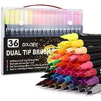 IFORU Plumones Punta de Pincel 36 Colores, Rotuladores de Dibujo con Doble Punta(0.4mm/1-2mm), Rotuladores Acuarelables…