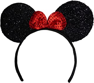 product image for Funfash Halloween Minnie Mouse Ears Red Sequins Headband Costume Adult One Size