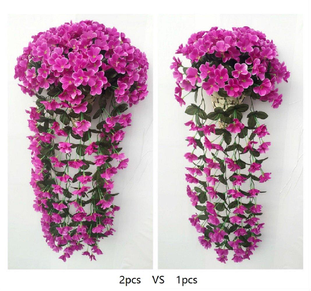 jingxu violeta artificial flores de seda morado Vine Flor Planta de ca/ña de rat/án para colgar guirnalda colgar en la pared boda fiesta hogar jard/ín balc/ón decoraci/ón