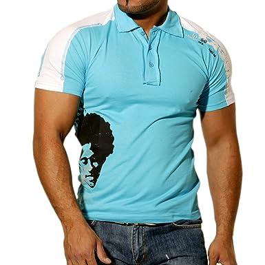 Rusty Neal Kurzarm Slim Fit Herren Poloshirt Motiv POLOT-Shirt Türkis 728  Hemd, Größe