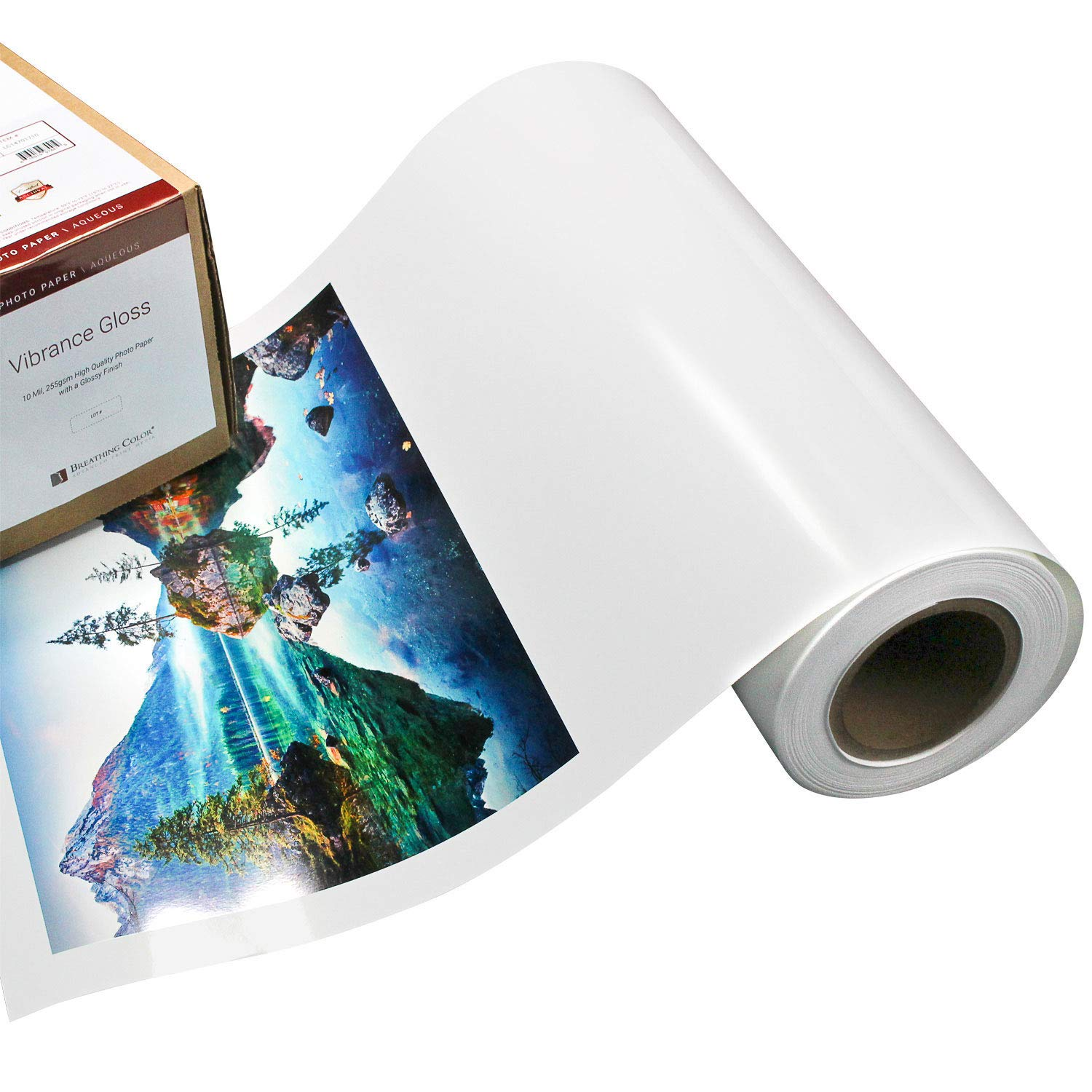 Vibrance Gloss Photo Printer Paper 10 mil 255 gsm Glossy Finish Premium Photo Paper Roll 24 inches x 100 feet Works with All Inkjet Printers Including Professional Makes and Models