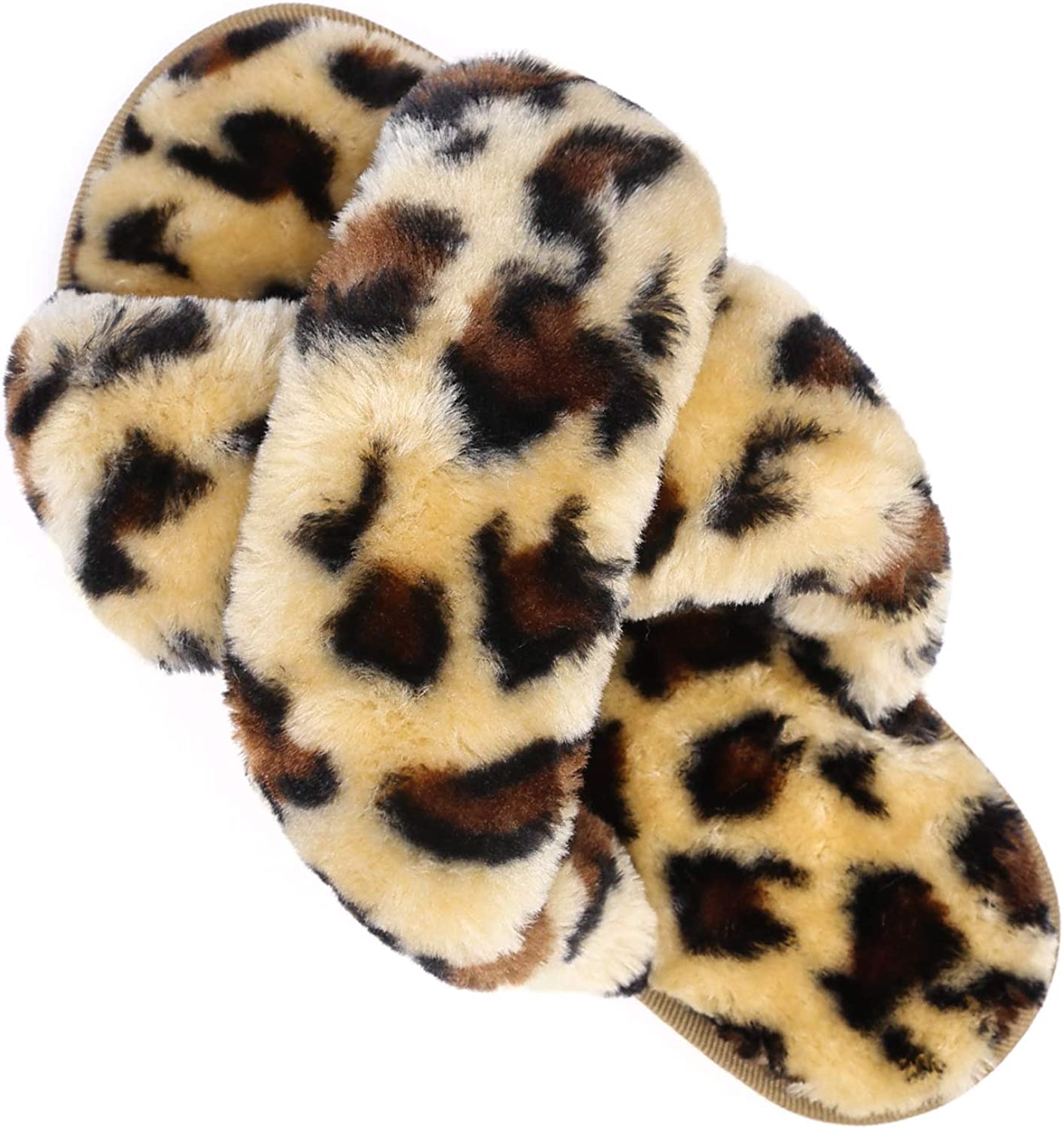 Womens House Fuzzy Slippers Leopard