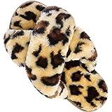 Womens House Fuzzy Slippers Leopard Cross Band Soft Plush FluffySlippers Furry Fleece Slip on Slippers Open Toe House Warm B
