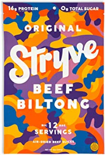 product image for Stryve Biltong, Beef Jerky without the Junky. 16g Protein, Sugar Free, No Carbs, Gluten Free, No Nitrates, No MSG, No Preservatives. Keto and Paleo Friendly. Original, 12oz