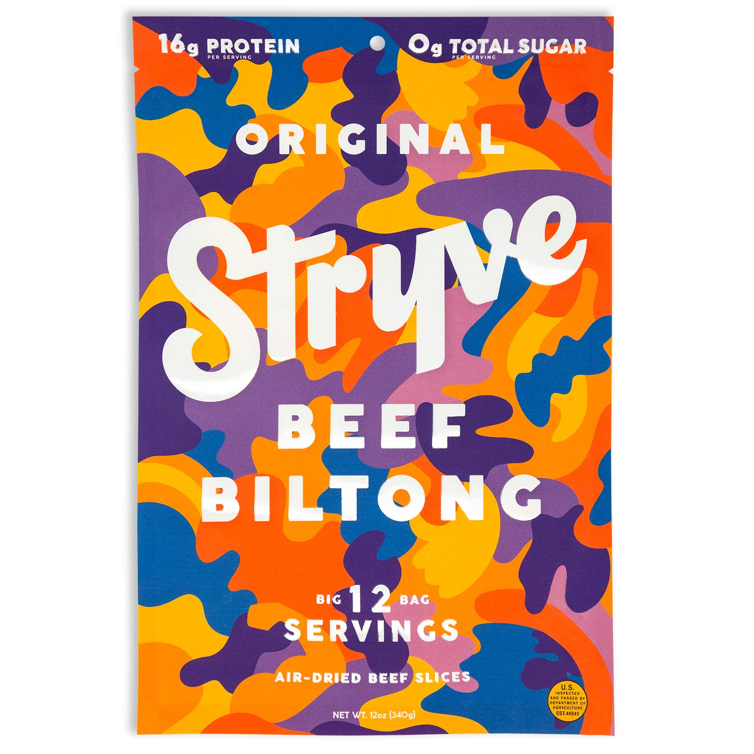 Stryve Biltong, Beef Jerky without the Junky. 16g Protein, Sugar Free, No Carbs, Gluten Free, No Nitrates, No MSG, No Preservatives. Keto and Paleo Friendly. Original, 12oz
