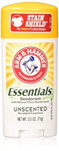 Arm & Hammer Essentials Natural Solid Deodorant, Unscented, 2.5 Ounce (Pack of 5)