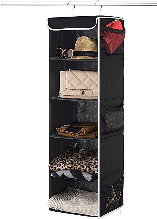 12 wide x 11.5 deep x 42 tall Java Hanging Shelves for Shoe Hanging Storage Zober 5-Shelf Hanging Closet Organizer for Accessory and Clothes Storage