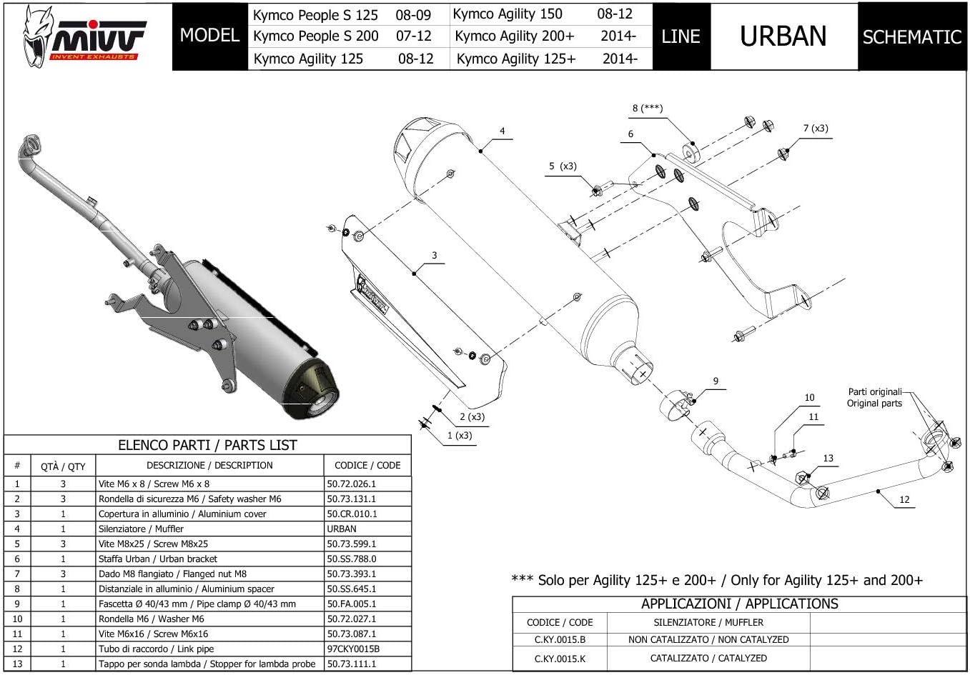 New C.KY.0015.K Pot D Echappament Complet Cat MIVV Urban Inox pour People S 200 2009 09
