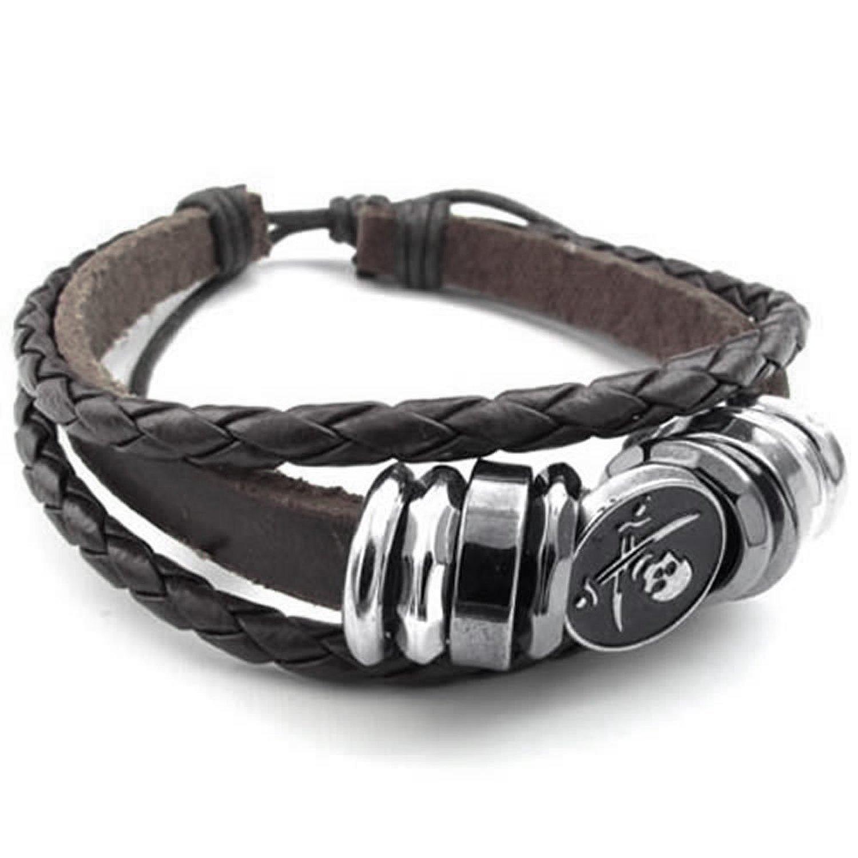MENDINO Pirate Skull Patterm Charm Braided Cord Adjustable Leather Bracelet (Brown) with 1X Velvet Bag JBR0121BR UK