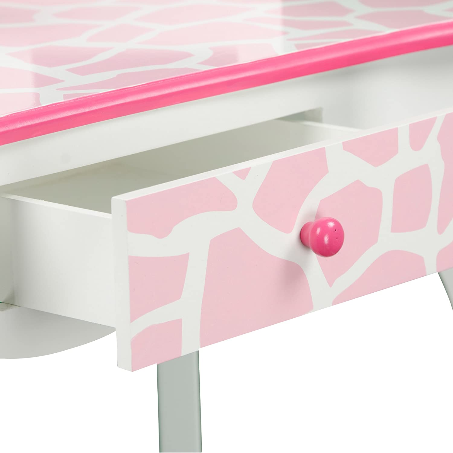 Fashion Prints Girls Vanity Table and Stool Set with Mirror Baby Pink // White Teamson Kids Giraffe