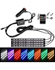 WinPower Interior Car Lights Waterproof 12V RGB 5050SMD 48 LEDs Ambient Lighting Car LED Strip Lights with Wireless Remote Control Car Charger