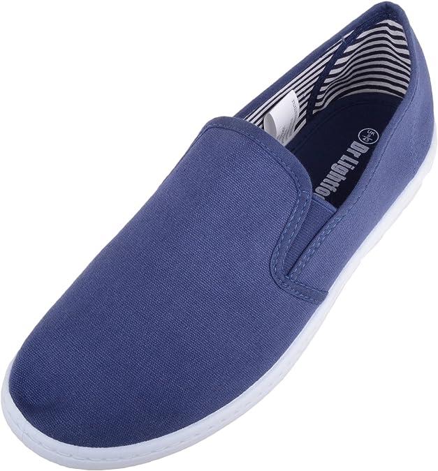 TALLA 39.5 EU. Deslizamiento de lona para hombre en zapatos/bombas/Plimsols con plantilla de espuma de memoria